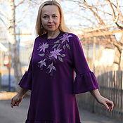 "Одежда handmade. Livemaster - original item Knit dress with flounced ""Delicate Lily"". Handmade."