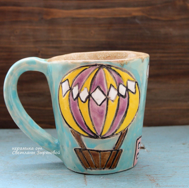 Кружки и чашки ручной работы. Ярмарка Мастеров - ручная работа. Купить 'Воздушный шар над городом' Керамическая кружка. Handmade.
