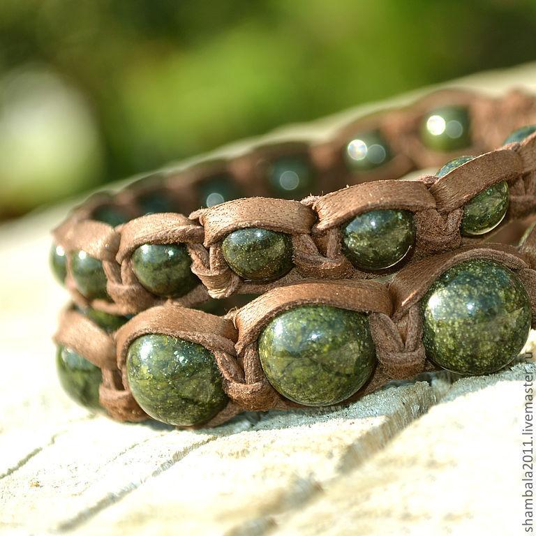 A set of leather Shamballa bracelets with stone serpentine