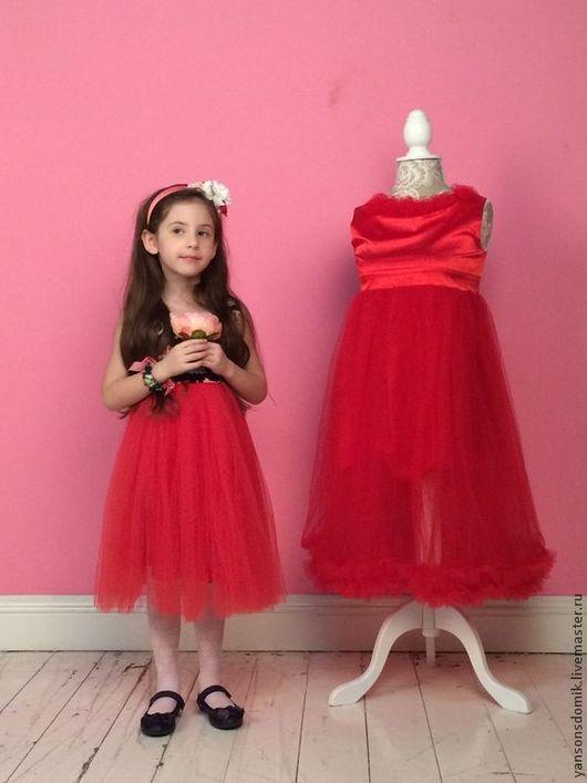 """Одежда для девочек, ручной работы. Ярмарка Мастеров - ручная работа. Купить Платье """"Воздушная жизнь"""". Handmade. Ярко-красный"""