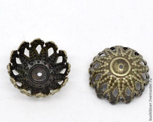 Шапочки для бусин `Цветы` - античная бронза для бусин 12мм