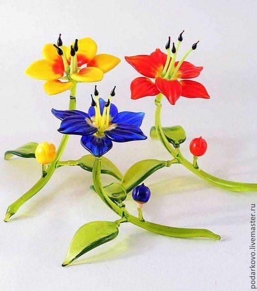 Цветы ручной работы. Ярмарка Мастеров - ручная работа. Купить Стеклянные цветы. Handmade. Ярко-красный, фигурка, стеклянные цветы