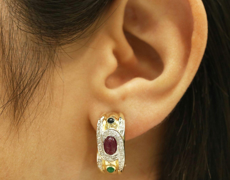 14K Emerald Ruby Sapphire Diamond Huggie Earrings,, Earrings, West Palm Beach,  Фото №1