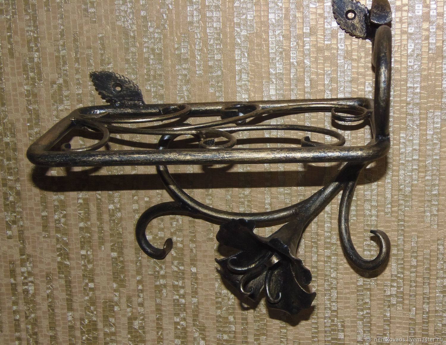 Buy wrought iron wall shelf with flower on livemaster online shop order wrought iron wall shelf with flower artistic forging nemkova livemaster amipublicfo Choice Image