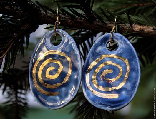 """Серьги ручной работы. Ярмарка Мастеров - ручная работа. Купить Серьги бохо из керамики """"Галактика"""". Handmade. Синий, глиняные серьги"""