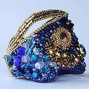 Украшения ручной работы. Ярмарка Мастеров - ручная работа синий Браслет с золотом. Handmade.