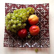 """Ажурное стеклянное блюдо для фруктов """"Винное"""", фьюзинг"""