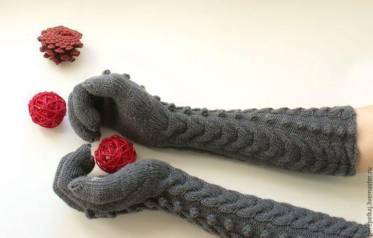 """Варежки, митенки, перчатки ручной работы. Ярмарка Мастеров - ручная работа. Купить Перчатки """"Шишечка"""". Handmade. Темно-серый"""