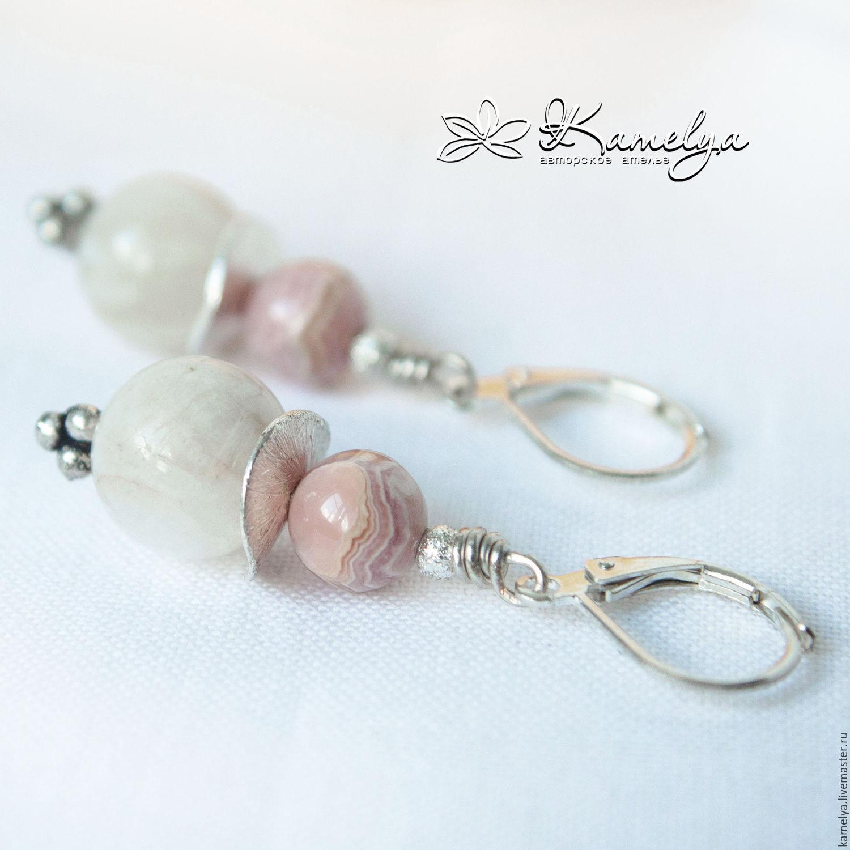 Earrings with moonstone and rhodochrosite 'Flirty', Earrings, Yaroslavl,  Фото №1