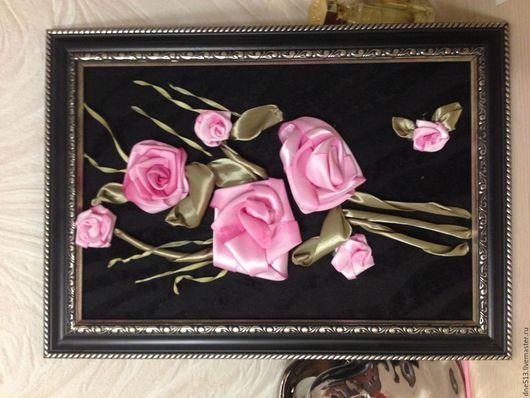 Картины цветов ручной работы. Ярмарка Мастеров - ручная работа. Купить Розовые розы. Handmade. Розовый, деревянная рамка