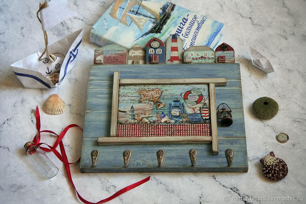 Housekeeper hanger Town by the sea. Decoupage key holder, Housekeeper, Khimki,  Фото №1