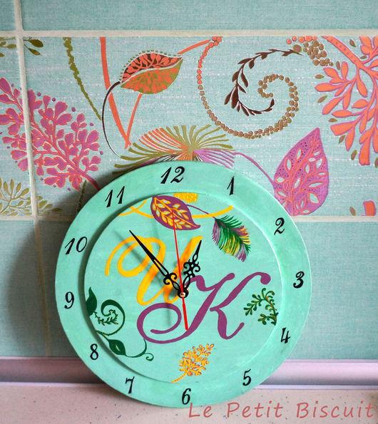 Часы для дома ручной работы. Ярмарка Мастеров - ручная работа. Купить Часы для кухни. Handmade. Тёмно-бирюзовый