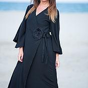 """Одежда handmade. Livemaster - original item Длинное платье с запахом из хлопка """"Обними меня"""" - DR0176CV. Handmade."""
