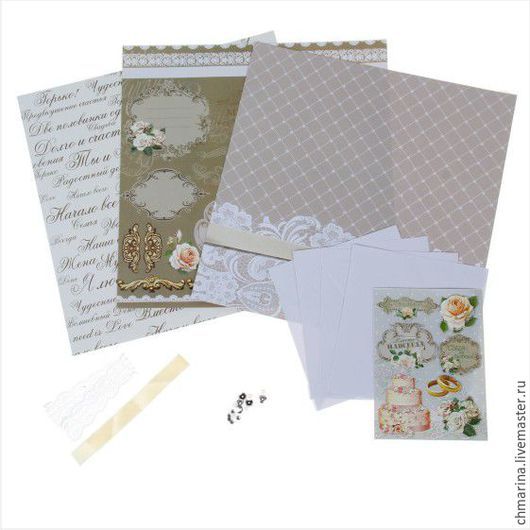 """Свадебные открытки ручной работы. Ярмарка Мастеров - ручная работа. Купить Набор для создания открыток""""Свадьба"""". Handmade. Комбинированный, набор для скрапа"""