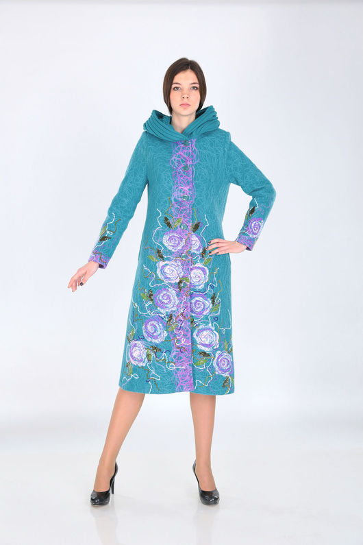 Верхняя одежда ручной работы. Ярмарка Мастеров - ручная работа. Купить Пальто П 56. Handmade. Голубой, пальто женское