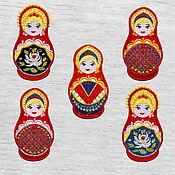 Материалы для творчества handmade. Livemaster - original item Copy of Applique Matryoshka Embroidered stripe 9,5х5cm Patch. Handmade.