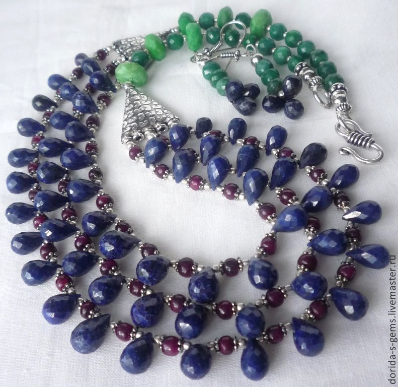 author's necklace, necklace for every day necklace out, the necklace of rubies, necklace with sapphires, necklace with emeralds, necklace for gift, beads from rubies, sapphire beads, emeralds beads