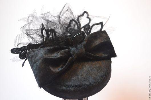 """Шляпы ручной работы. Ярмарка Мастеров - ручная работа. Купить Шляпка """"Grazia"""".. Handmade. Черный, грация, шляпка-таблетка, шляпа"""