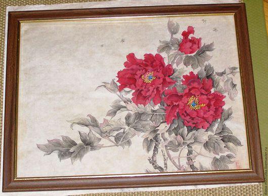Картины цветов ручной работы. Ярмарка Мастеров - ручная работа. Купить Пионовый сад. Handmade. Комбинированный, китайская живопись