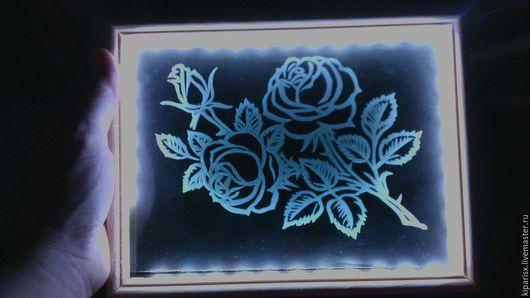 Картины цветов ручной работы. Ярмарка Мастеров - ручная работа. Купить Розы. Handmade. Чёрно-белый, стекло, дерево, розы
