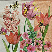 Материалы для творчества handmade. Livemaster - original item Napkin for decoupage flowers tulips holiday print. Handmade.