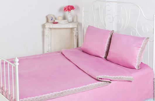 Текстиль, ковры ручной работы. Ярмарка Мастеров - ручная работа. Купить Постельное бельё из льна. Handmade. Розовый, постельный комплект