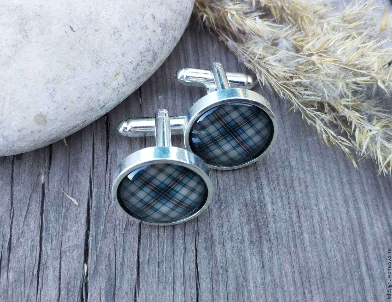 Cufflinks silver plated Cage brown (large), Cuff Links, Moscow,  Фото №1