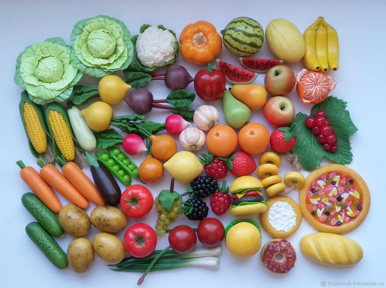 Кукольная еда. Овощи и фрукты из полимерной глины. Еда для кукол, Кукольная еда, Москва,  Фото №1
