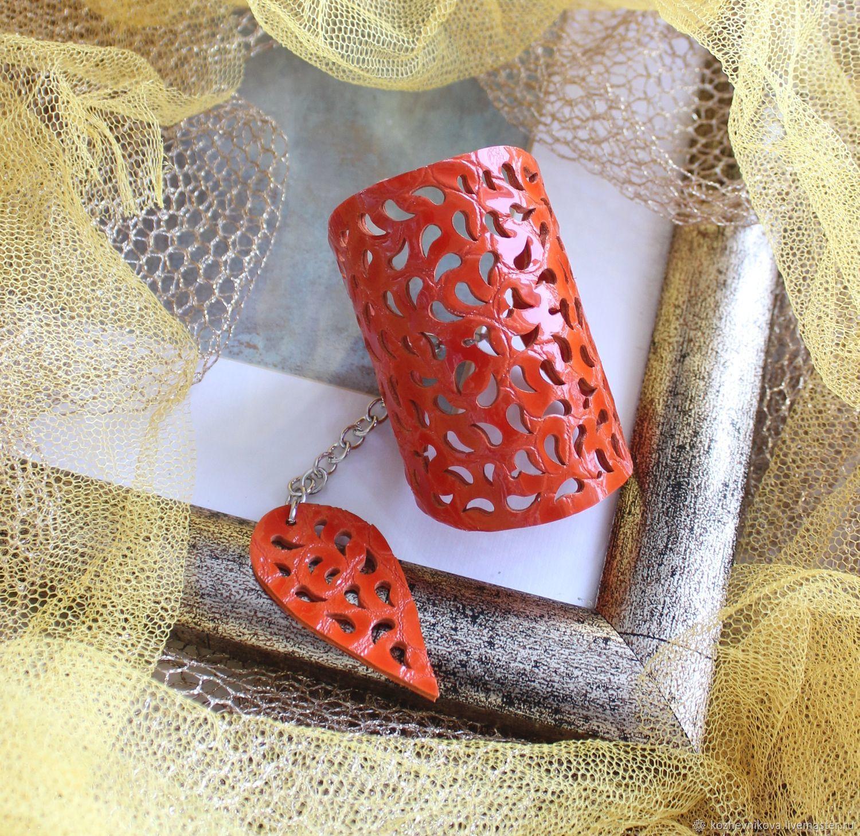 Leather bracelet Red orange, Bead bracelet, Nizhnij Tagil,  Фото №1