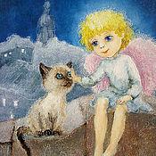 Открытки ручной работы. Ярмарка Мастеров - ручная работа Новогодняя открытка Ангел и Сиамский котенок. Handmade.