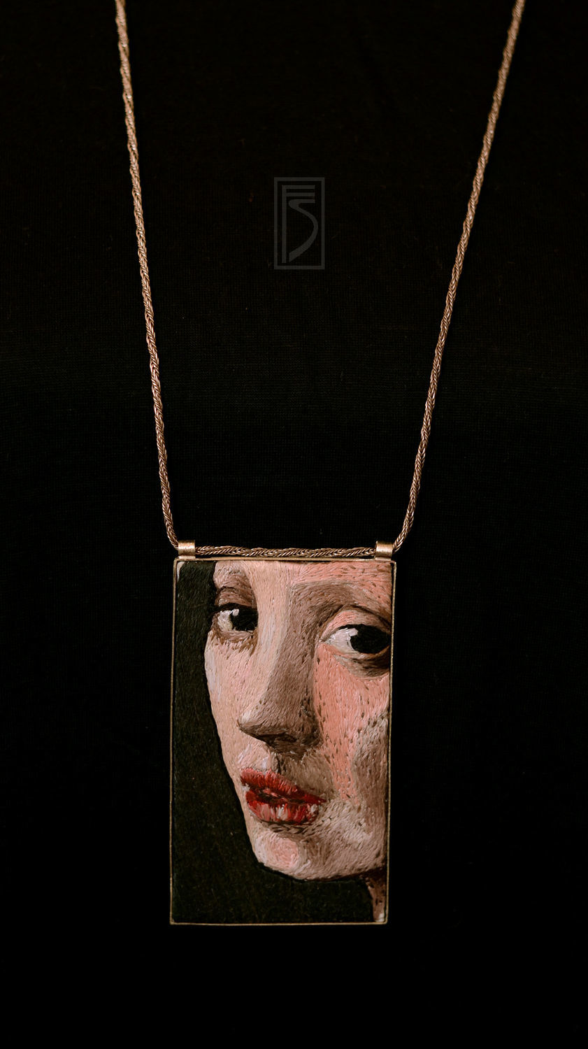 embroidered pendant the Vermeer series 'fragments', Pendants, Khmelnitsky,  Фото №1