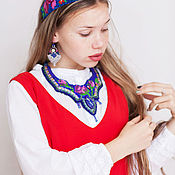 Украшения handmade. Livemaster - original item Necklace with lapis embroidered beaded