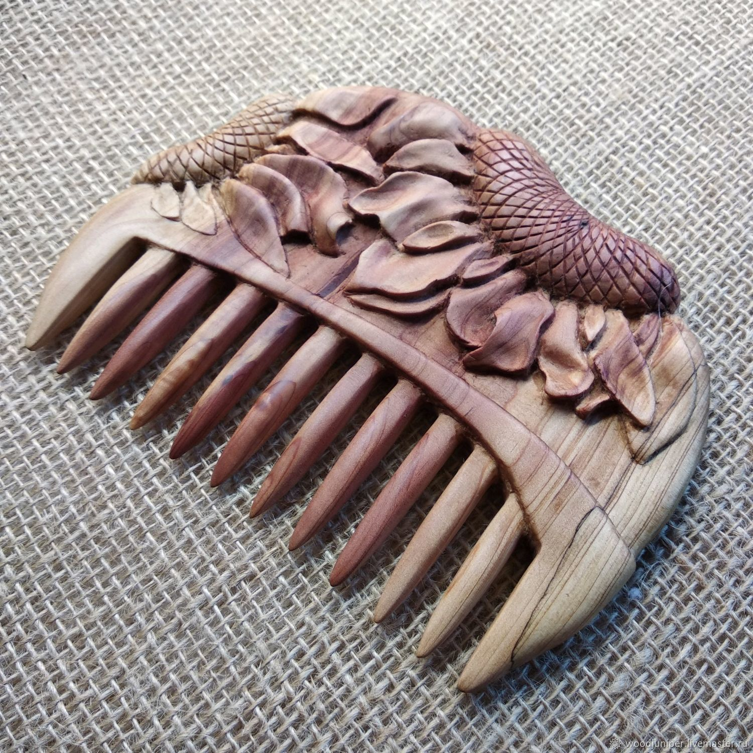 """Hand Carved Juniper Wood Hair Comb """"Children of the sun"""", Combs, Sochi,  Фото №1"""