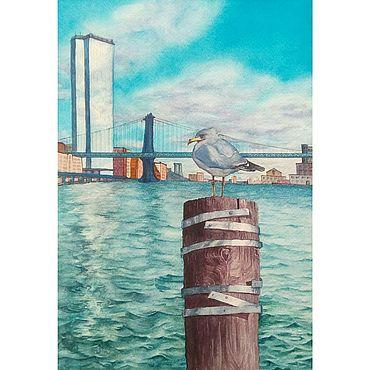 """Картины и панно ручной работы. Ярмарка Мастеров - ручная работа Картина: """"Чайка в Нью-Йорке"""" 18 на 26 см. Handmade."""