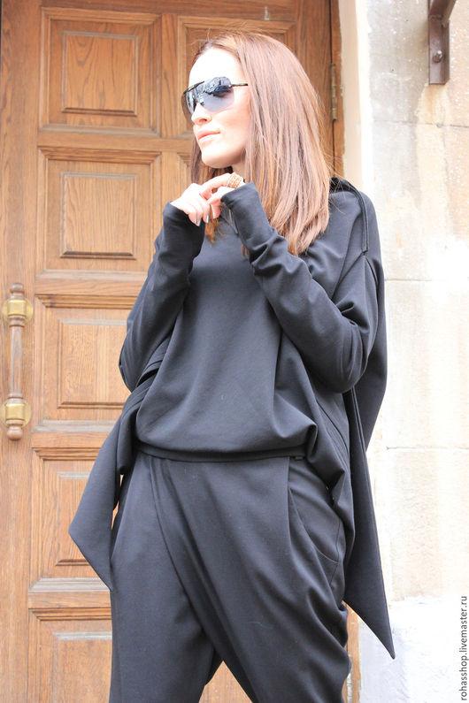 R00059 Свитшот черный городской стиль спортивная одежда дизайнерская одежда комфорт стильная кофточка черная кофточка модная одежда комфортная одежда