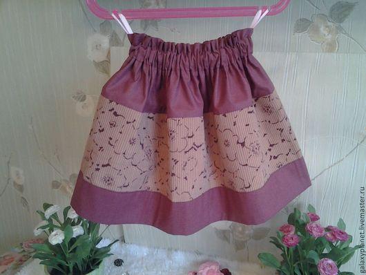 Одежда для девочек, ручной работы. Ярмарка Мастеров - ручная работа. Купить Юбочка детская вельветовая цветочная на резинке. Handmade. Бежевый
