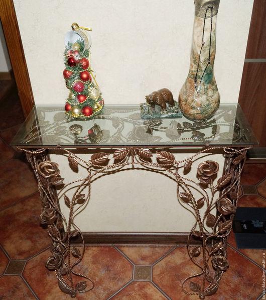 Мебель ручной работы. Ярмарка Мастеров - ручная работа. Купить Консоль из кованых роз. Handmade. Комбинированный, подставка