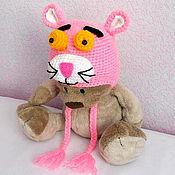 Работы для детей, ручной работы. Ярмарка Мастеров - ручная работа Детская шапка Розовая пантера (зимняя теплая вязаная с подкладкой). Handmade.