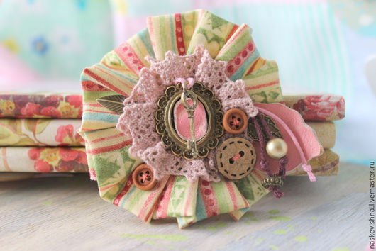 """Броши ручной работы. Ярмарка Мастеров - ручная работа. Купить Брошь """"Весеннее утро"""". Handmade. Розовый, брошь из ткани"""