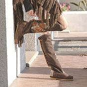 Обувь ручной работы handmade. Livemaster - original item boots: ROSA brown / Women`s Fur leather Boots with Embroidery. Handmade.