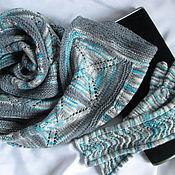 Аксессуары ручной работы. Ярмарка Мастеров - ручная работа Шарф+перчатки Alegria superwash серо-бирюзовые,серо-голубые. Handmade.