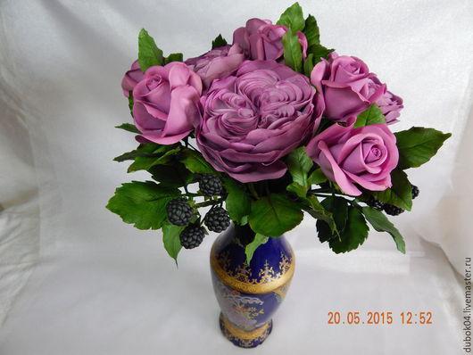 Букеты ручной работы. Ярмарка Мастеров - ручная работа. Купить ,,Сиреневое настроение,,- букет с розами и ежевикой.. Handmade. Фиолетовый