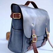 Men\`s bag handmade. Livemaster - original item Men`s leather briefcase, Le BLUE MacBook bag blue. Handmade.