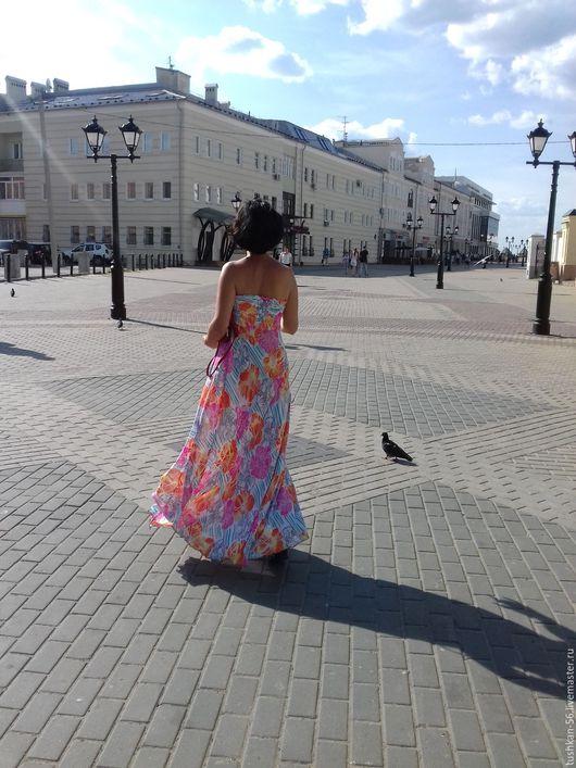 Платья ручной работы. Ярмарка Мастеров - ручная работа. Купить Платье без бретелей-бюстье-бандо, или летний длинный сарафан. Handmade.