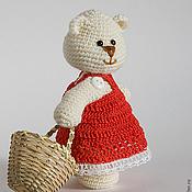 Куклы и игрушки ручной работы. Ярмарка Мастеров - ручная работа Удочерена. Вязаная игрушка мишка с корзинкой. Handmade.