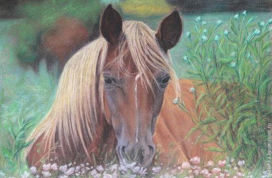 Животные ручной работы. Ярмарка Мастеров - ручная работа. Купить Лошадь на лугу. Handmade. Лошадь, картина с лошадью, пастельная картина