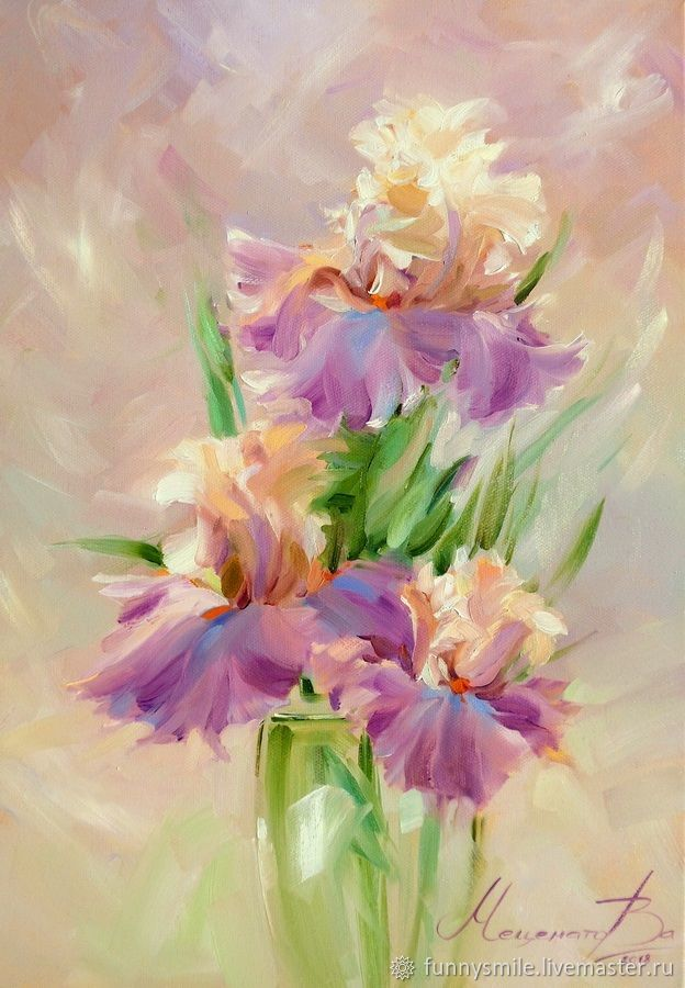 Oil painting on canvas. Irises with vanilla. Painting with flowers, Pictures, Moscow,  Фото №1