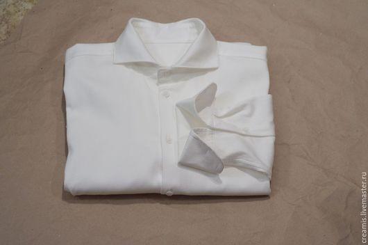 Для мужчин, ручной работы. Ярмарка Мастеров - ручная работа. Купить Мужская рубашка под запонки. Handmade. Белый, для торжества