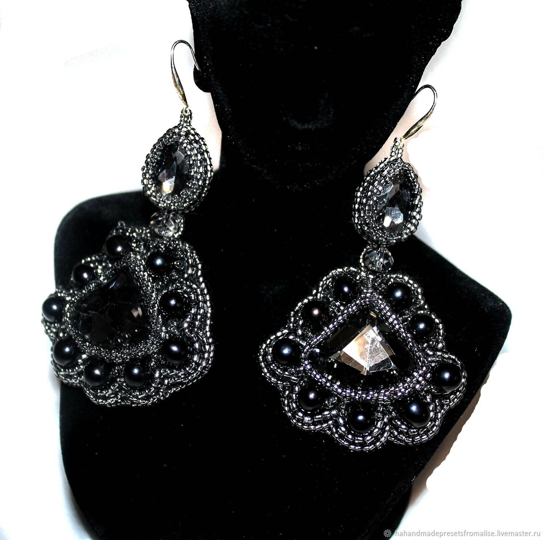 Earrings, large pearl and crystal stone, Earrings, Simferopol,  Фото №1