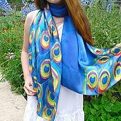Аксессуары handmade. Livemaster - original item Batik scarf tippet Peacock. Handmade.